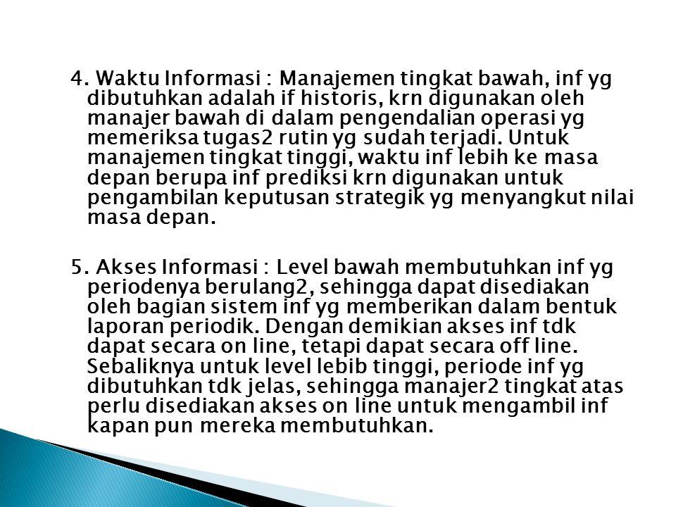 4. Waktu Informasi : Manajemen tingkat bawah, inf yg dibutuhkan adalah if historis, krn digunakan oleh manajer bawah di dalam pengendalian operasi yg