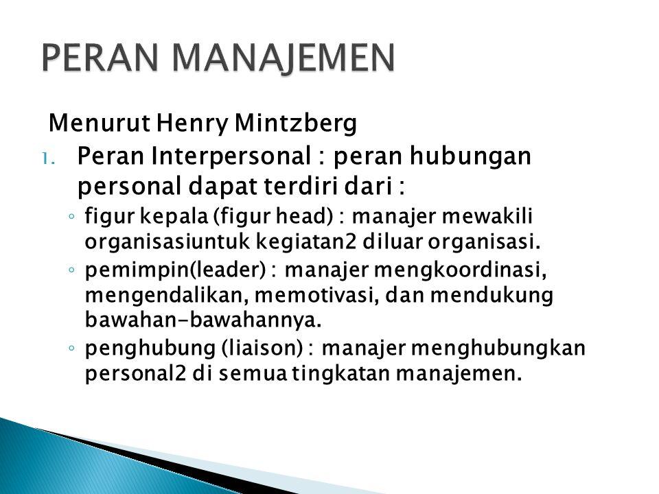 Menurut Henry Mintzberg 1. Peran Interpersonal : peran hubungan personal dapat terdiri dari : ◦ figur kepala (figur head) : manajer mewakili organisas