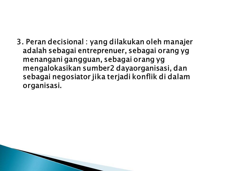 3. Peran decisional : yang dilakukan oleh manajer adalah sebagai entreprenuer, sebagai orang yg menangani gangguan, sebagai orang yg mengalokasikan su