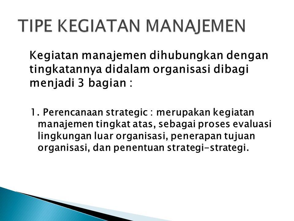 Kegiatan manajemen dihubungkan dengan tingkatannya didalam organisasi dibagi menjadi 3 bagian : 1. Perencanaan strategic : merupakan kegiatan manajeme