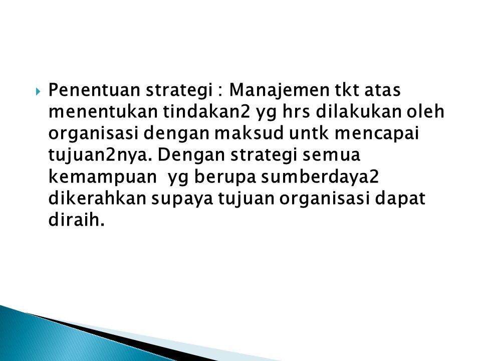  Penentuan strategi : Manajemen tkt atas menentukan tindakan2 yg hrs dilakukan oleh organisasi dengan maksud untk mencapai tujuan2nya. Dengan strateg