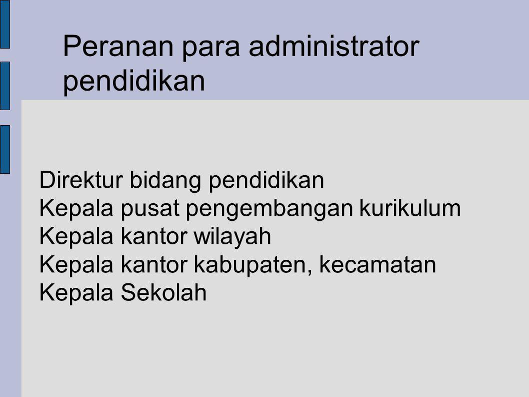 Peranan para administrator pendidikan Direktur bidang pendidikan Kepala pusat pengembangan kurikulum Kepala kantor wilayah Kepala kantor kabupaten, kecamatan Kepala Sekolah