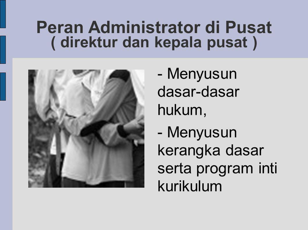 Peran Administrator di Pusat ( direktur dan kepala pusat ) - Menyusun dasar-dasar hukum, - Menyusun kerangka dasar serta program inti kurikulum