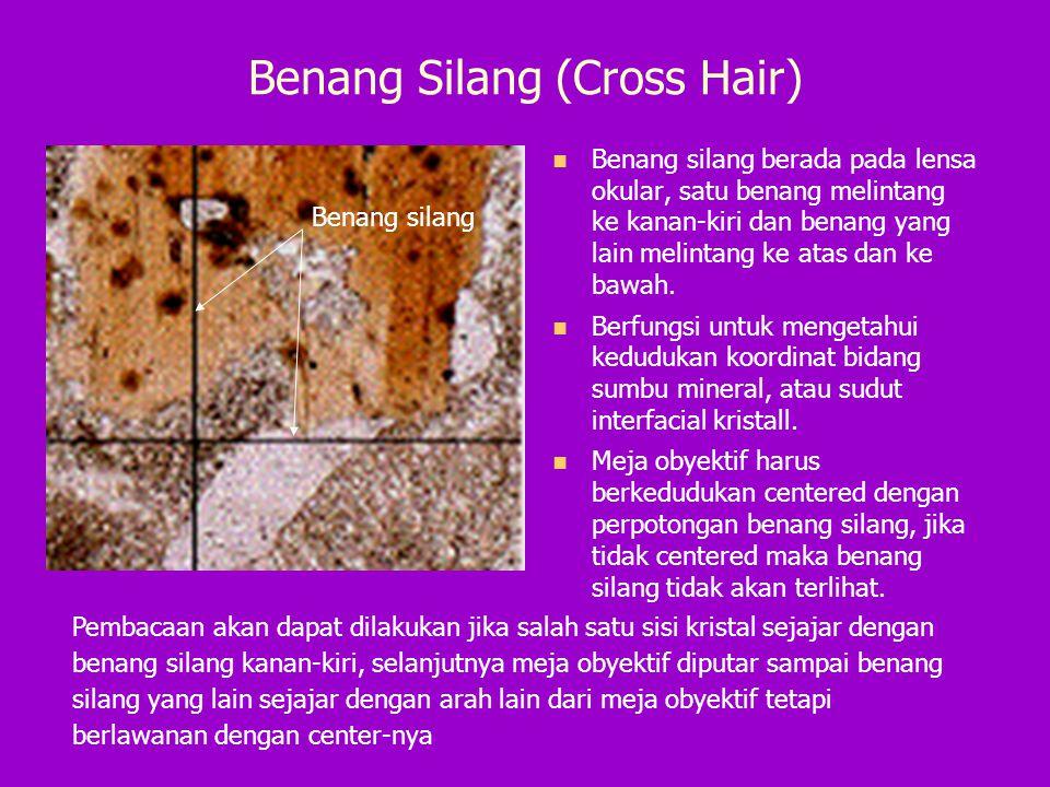 Benang Silang (Cross Hair) Benang silang berada pada lensa okular, satu benang melintang ke kanan-kiri dan benang yang lain melintang ke atas dan ke b