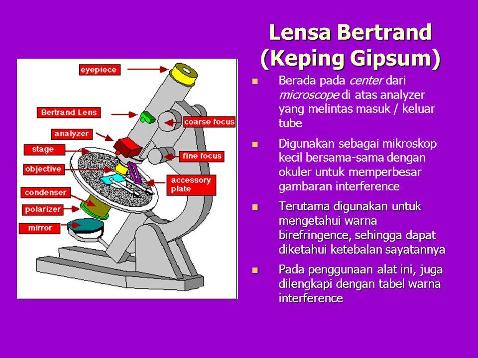 Lensa Bertrand (Keping Gipsum) Berada pada center dari microscope di atas analyzer yang melintas masuk / keluar tube Digunakan sebagai mikroskop kecil