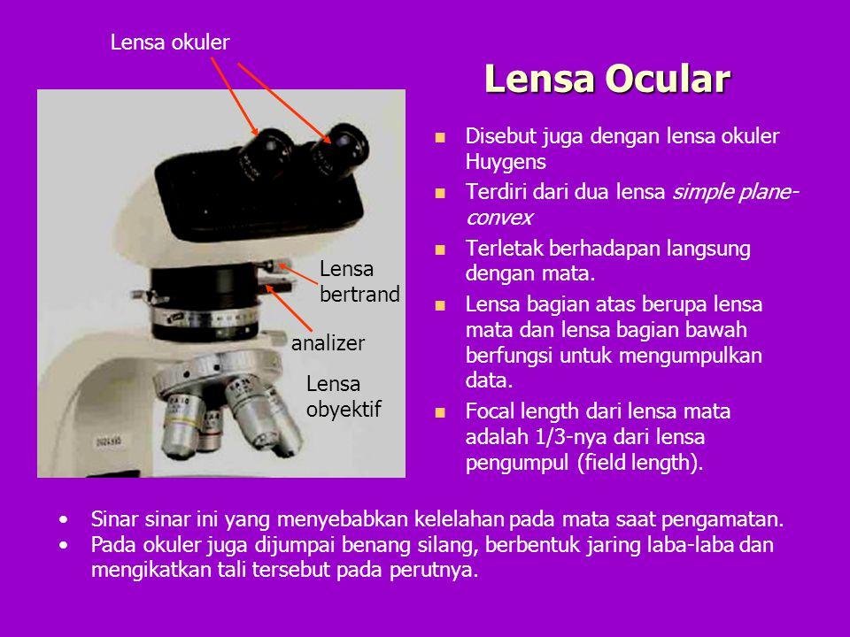 Lensa Ocular Disebut juga dengan lensa okuler Huygens Terdiri dari dua lensa simple plane- convex Terletak berhadapan langsung dengan mata. Lensa bagi