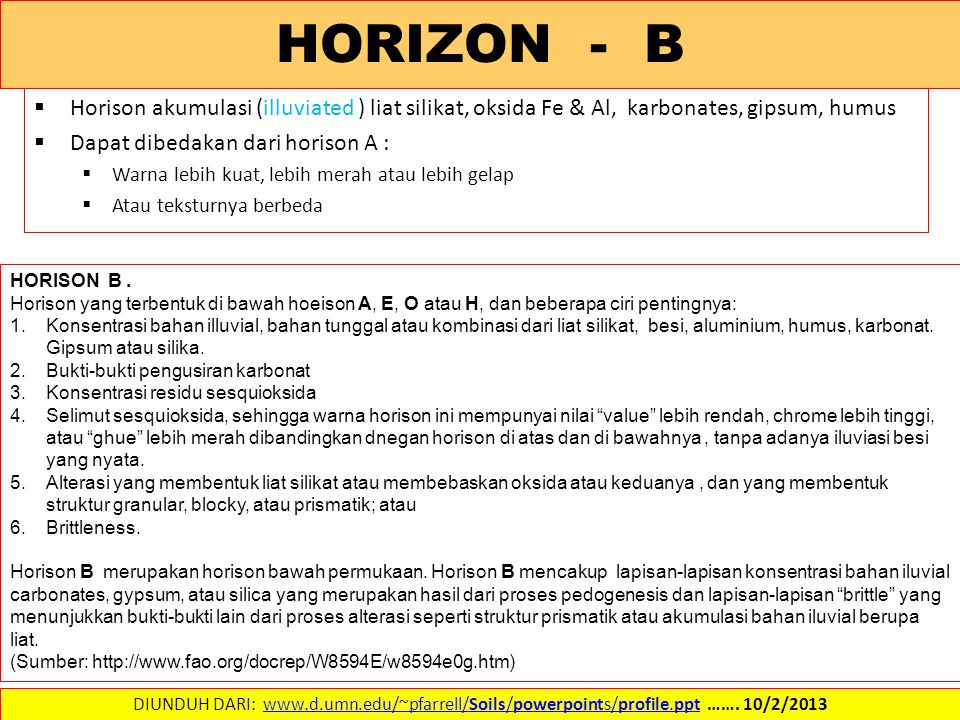  Horison akumulasi (illuviated ) liat silikat, oksida Fe & Al, karbonates, gipsum, humus  Dapat dibedakan dari horison A :  Warna lebih kuat, lebih merah atau lebih gelap  Atau teksturnya berbeda DIUNDUH DARI: www.d.umn.edu/~pfarrell/Soils/powerpoints/profile.ppt …….