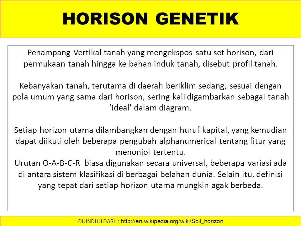 HORISON GENETIK Penampang Vertikal tanah yang mengekspos satu set horison, dari permukaan tanah hingga ke bahan induk tanah, disebut profil tanah.