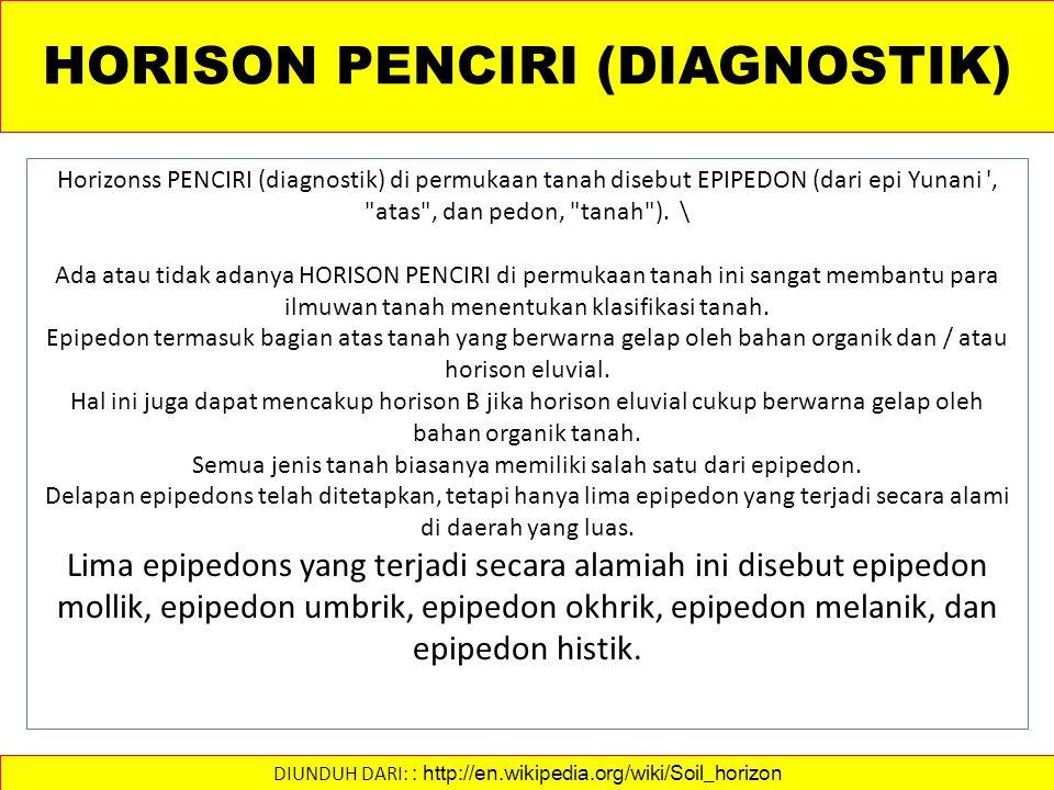 HORISON PENCIRI (DIAGNOSTIK) Horizonss PENCIRI (diagnostik) di permukaan tanah disebut EPIPEDON (dari epi Yunani , atas , dan pedon, tanah ).