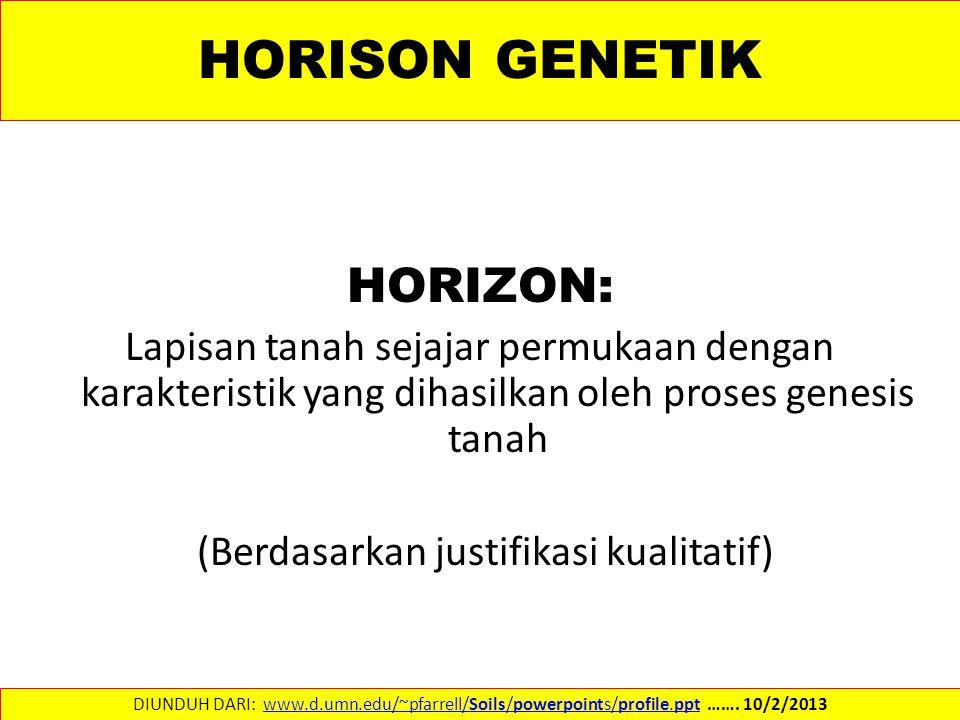 HORISON GENETIK HORIZON: Lapisan tanah sejajar permukaan dengan karakteristik yang dihasilkan oleh proses genesis tanah (Berdasarkan justifikasi kualitatif) DIUNDUH DARI: www.d.umn.edu/~pfarrell/Soils/powerpoints/profile.ppt …….