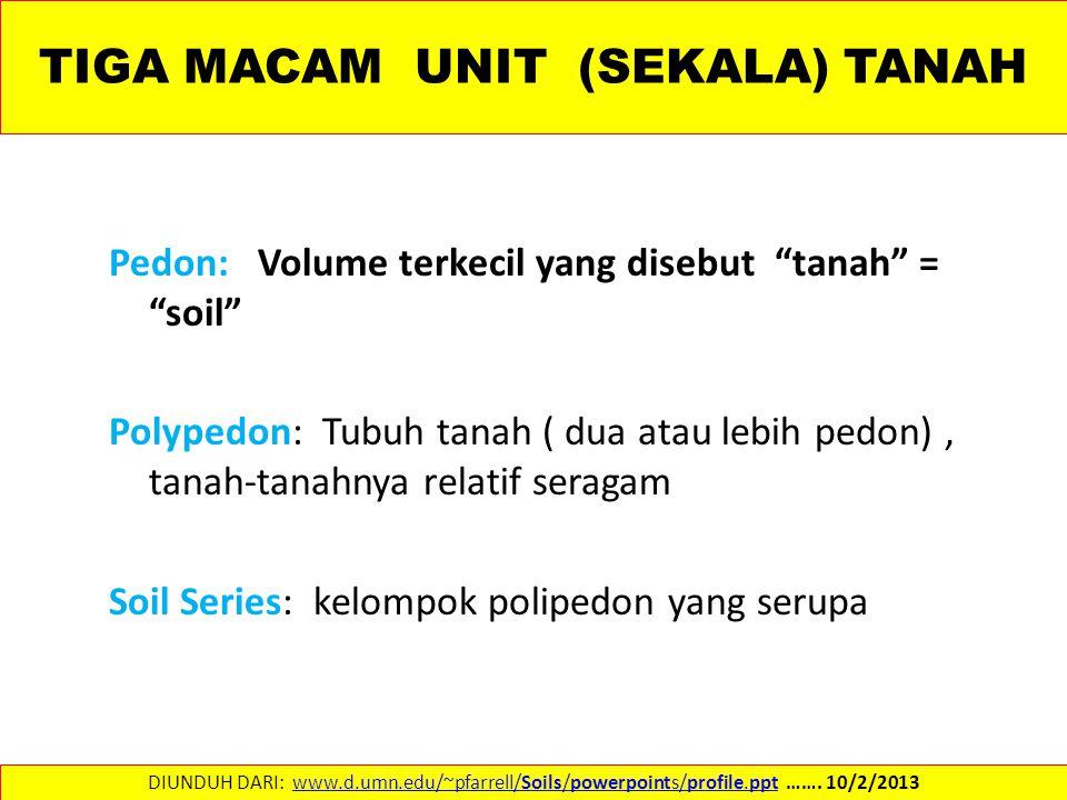 "TIGA MACAM UNIT (SEKALA) TANAH Pedon: Volume terkecil yang disebut ""tanah"" = ""soil"" Polypedon: Tubuh tanah ( dua atau lebih pedon), tanah-tanahnya rel"