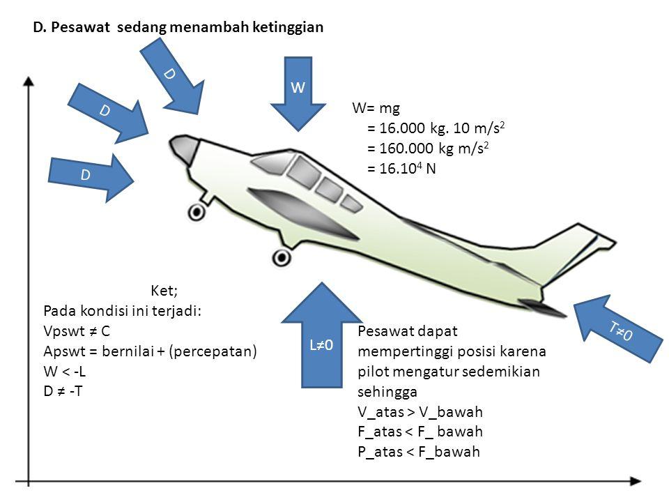 D. Pesawat sedang menambah ketinggian W D L≠0 T≠0 W= mg = 16.000 kg. 10 m/s 2 = 160.000 kg m/s 2 = 16.10 4 N Ket; Pada kondisi ini terjadi: Vpswt ≠ C