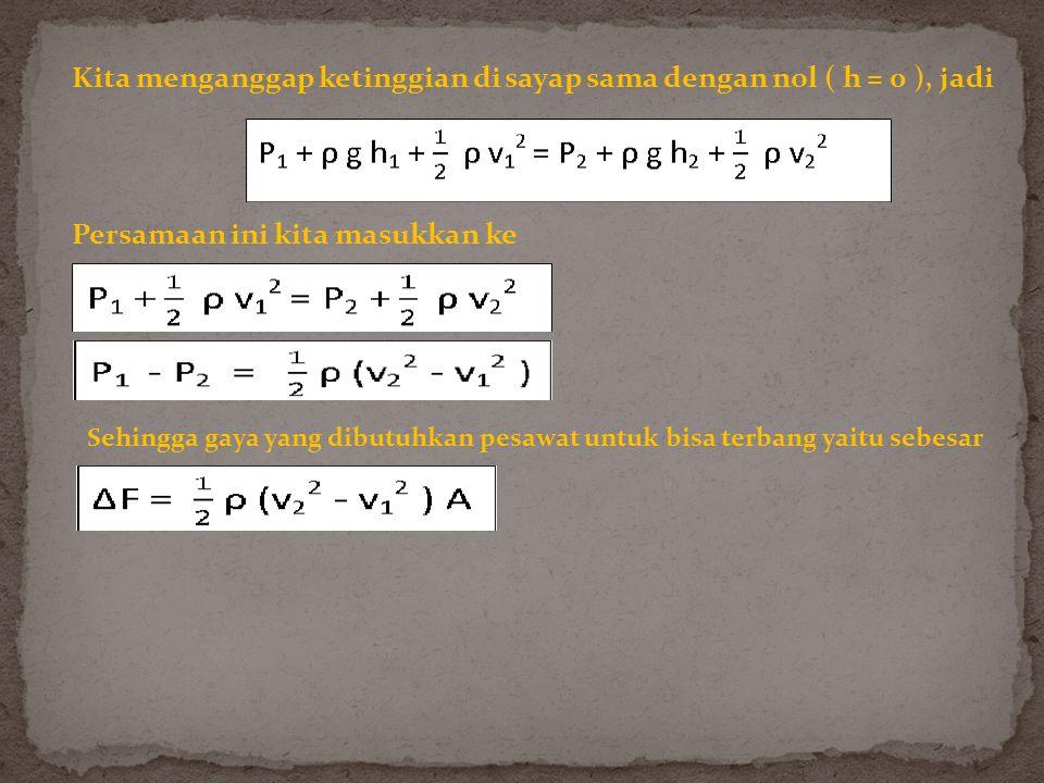 Kita menganggap ketinggian di sayap sama dengan nol ( h = 0 ), jadi Persamaan ini kita masukkan ke Sehingga gaya yang dibutuhkan pesawat untuk bisa terbang yaitu sebesar