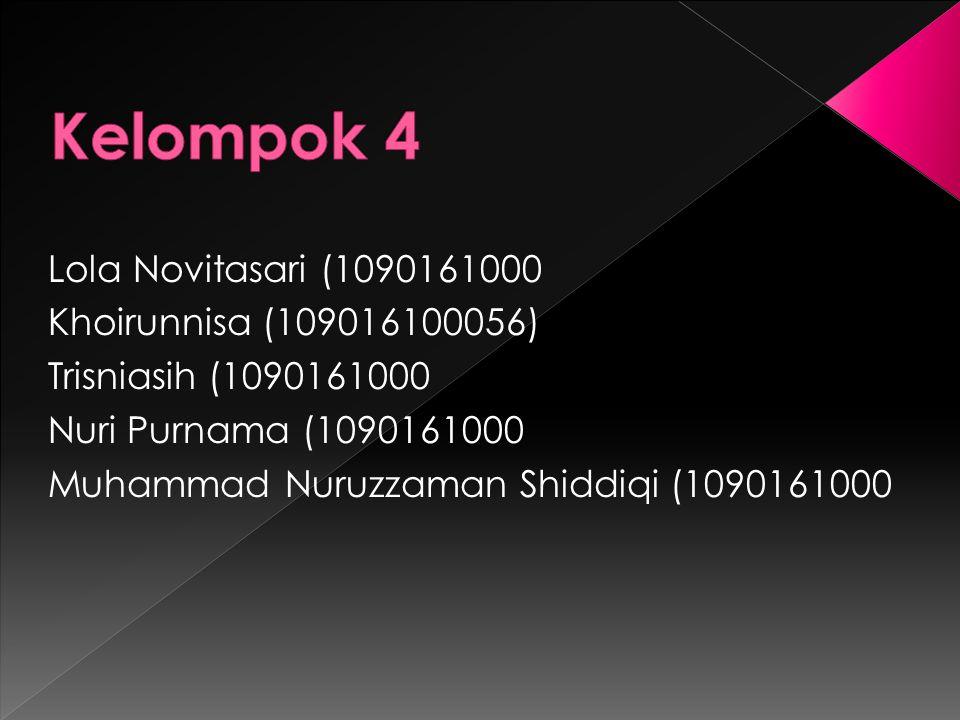 Lola Novitasari (1090161000 Khoirunnisa (109016100056) Trisniasih (1090161000 Nuri Purnama (1090161000 Muhammad Nuruzzaman Shiddiqi (1090161000