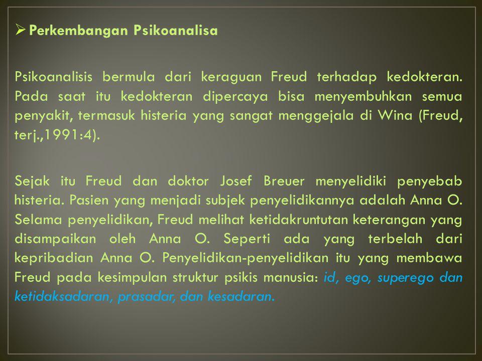  Perkembangan Psikoanalisa Psikoanalisis bermula dari keraguan Freud terhadap kedokteran. Pada saat itu kedokteran dipercaya bisa menyembuhkan semua