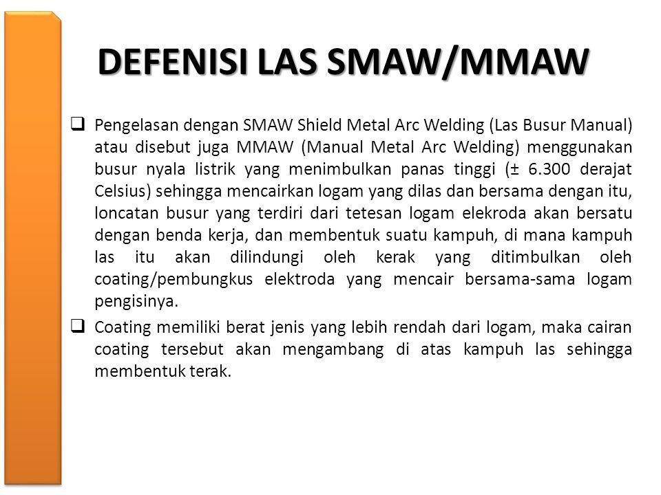 DEFENISI LAS SMAW/MMAW  Pengelasan dengan SMAW Shield Metal Arc Welding (Las Busur Manual) atau disebut juga MMAW (Manual Metal Arc Welding) mengguna
