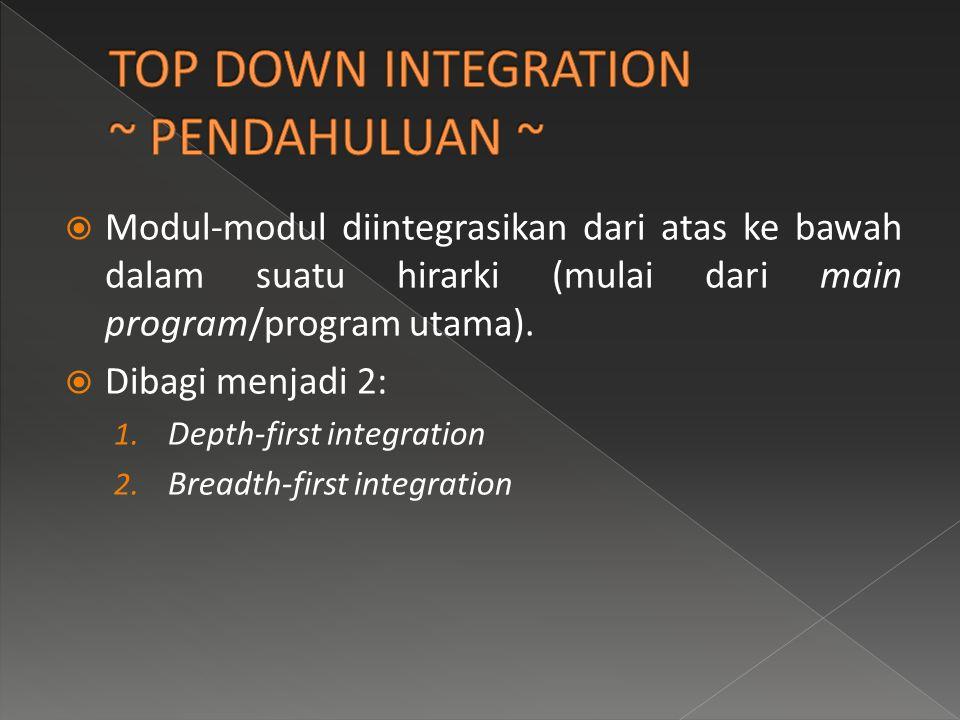  Modul-modul diintegrasikan dari atas ke bawah dalam suatu hirarki (mulai dari main program/program utama).  Dibagi menjadi 2: 1. Depth-first integr