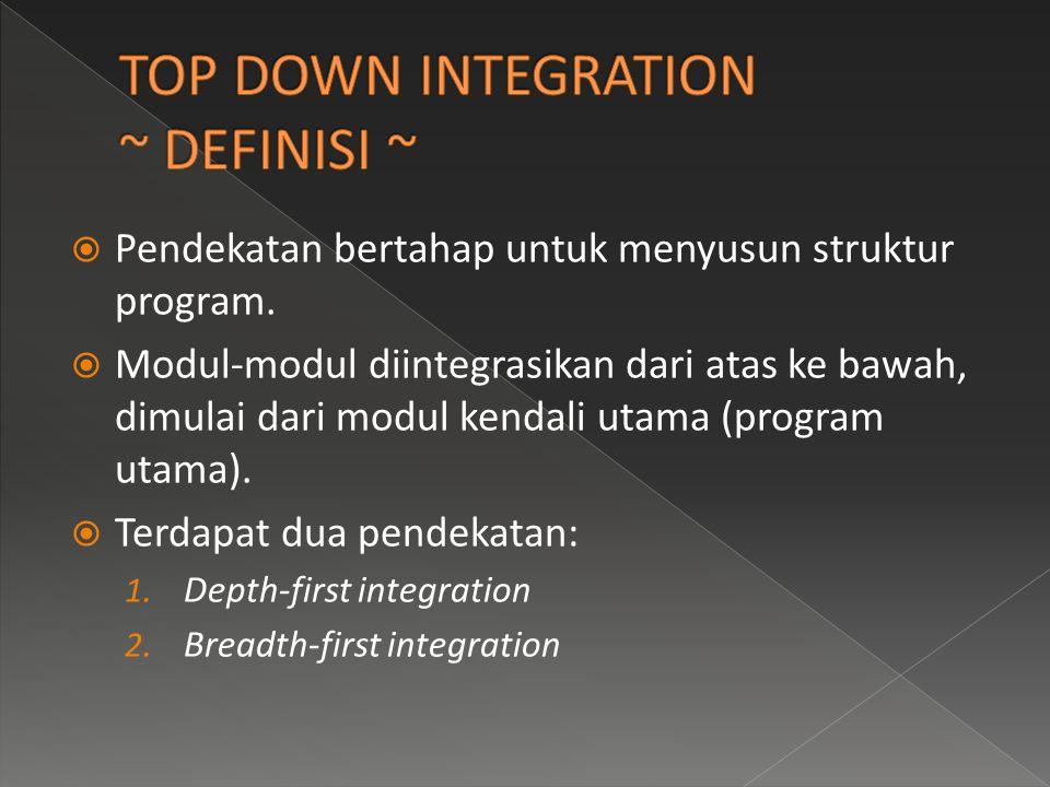  Pendekatan bertahap untuk menyusun struktur program.  Modul-modul diintegrasikan dari atas ke bawah, dimulai dari modul kendali utama (program utam