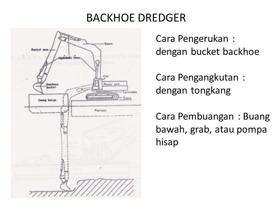 BACKHOE DREDGER Cara Pengerukan : dengan bucket backhoe Cara Pengangkutan : dengan tongkang Cara Pembuangan : Buang bawah, grab, atau pompa hisap