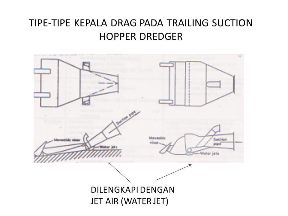 TIPE-TIPE KEPALA DRAG PADA TRAILING SUCTION HOPPER DREDGER DILENGKAPI DENGAN JET AIR (WATER JET)