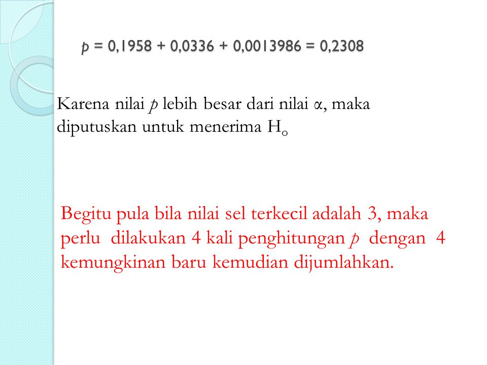 p = 0,1958 + 0,0336 + 0,0013986 = 0,2308 Karena nilai p lebih besar dari nilai α, maka diputuskan untuk menerima H o Begitu pula bila nilai sel terkec