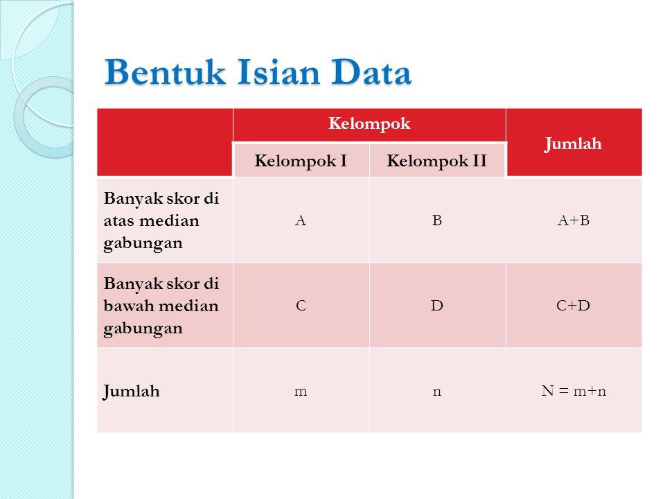 Bentuk Isian Data Kelompok Jumlah Kelompok IKelompok II Banyak skor di atas median gabungan ABA+B Banyak skor di bawah median gabungan CDC+D Jumlah mn