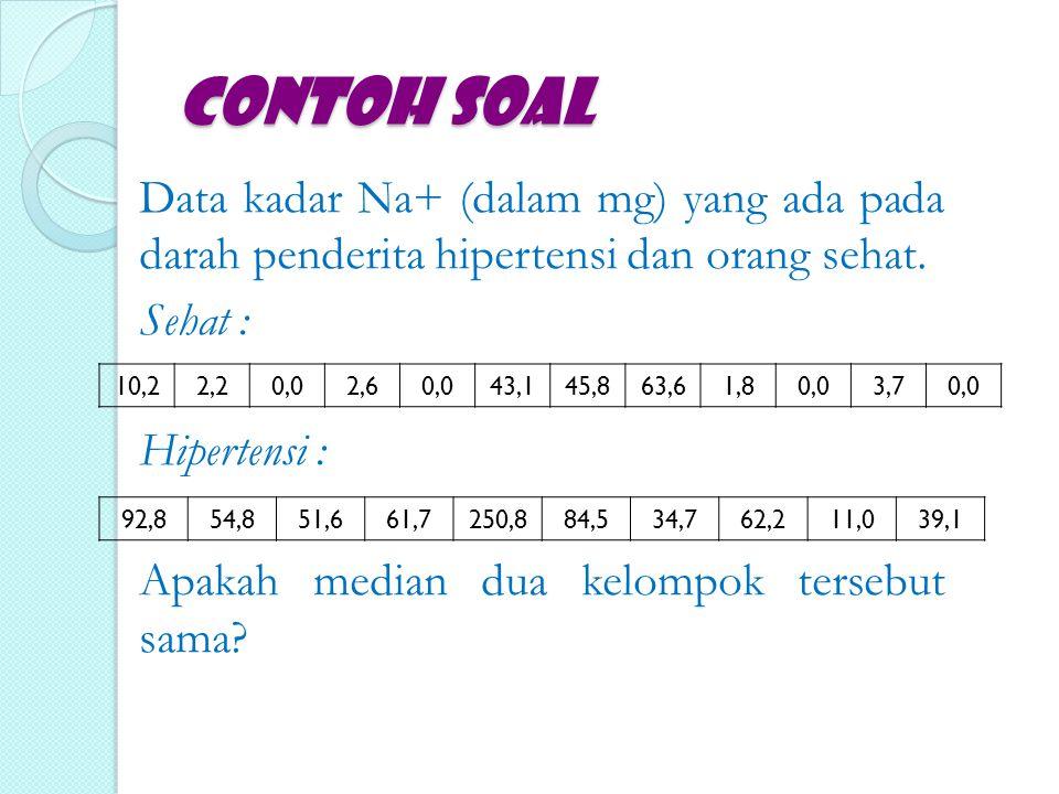Contoh Soal Data kadar Na+ (dalam mg) yang ada pada darah penderita hipertensi dan orang sehat. Sehat : Hipertensi : Apakah median dua kelompok terseb