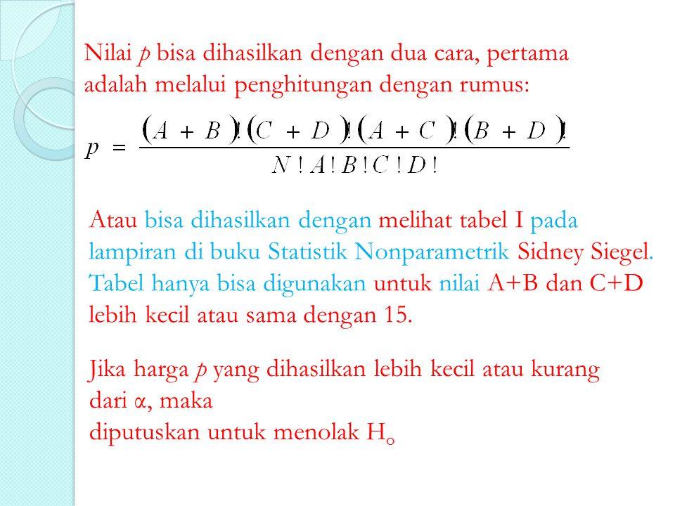 Contoh 1 Jika dalam suatu observasi dihasilkan data seperti tercantum dalam tabel berikut: 100 45 9 14519 Grup I Grup II +- Jumlah Maka kita hanya perlu melakukan substitusi nilai A, B, C, dan D ke dalam rumus p atau melihat nilai p dalam tabel I