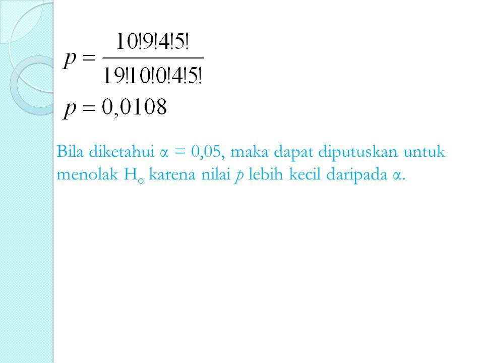 Bila diketahui α = 0,05, maka dapat diputuskan untuk menolak H o karena nilai p lebih kecil daripada α.
