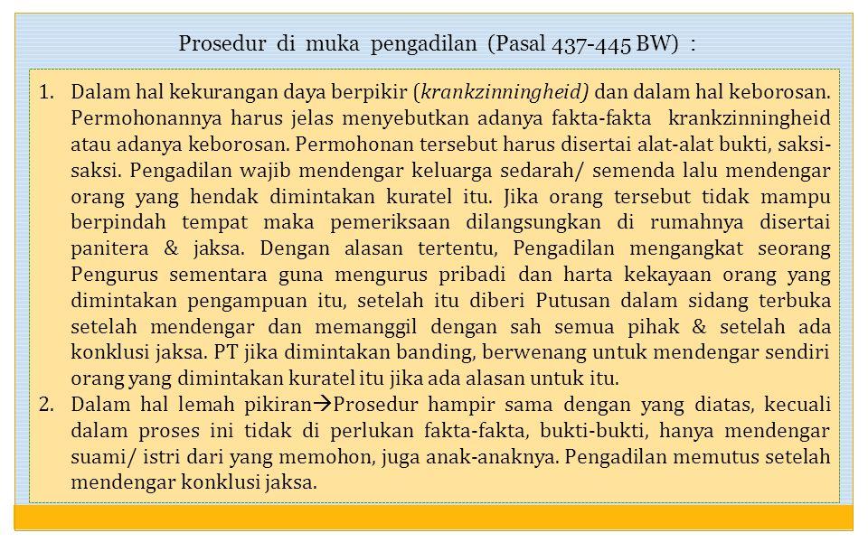 Pasal 436 BW : yang menetapkan kuratel adalah PN yang dalam daerah hukumnya berdiam orang yang akan diletakkan di bawah kuratel. Yang dapat memohonkan
