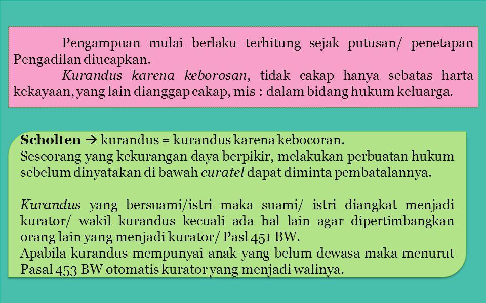 Prosedur di muka pengadilan (Pasal 437-445 BW) : 1.Dalam hal kekurangan daya berpikir (krankzinningheid) dan dalam hal keborosan. Permohonannya harus