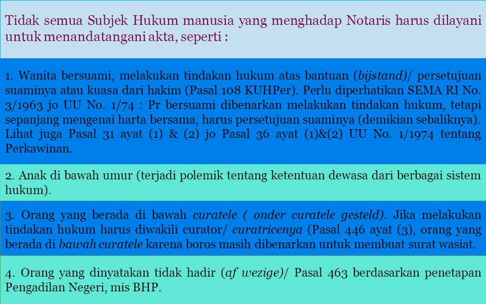 Tidak semua Subjek Hukum manusia yang menghadap Notaris harus dilayani untuk menandatangani akta, seperti : 1.