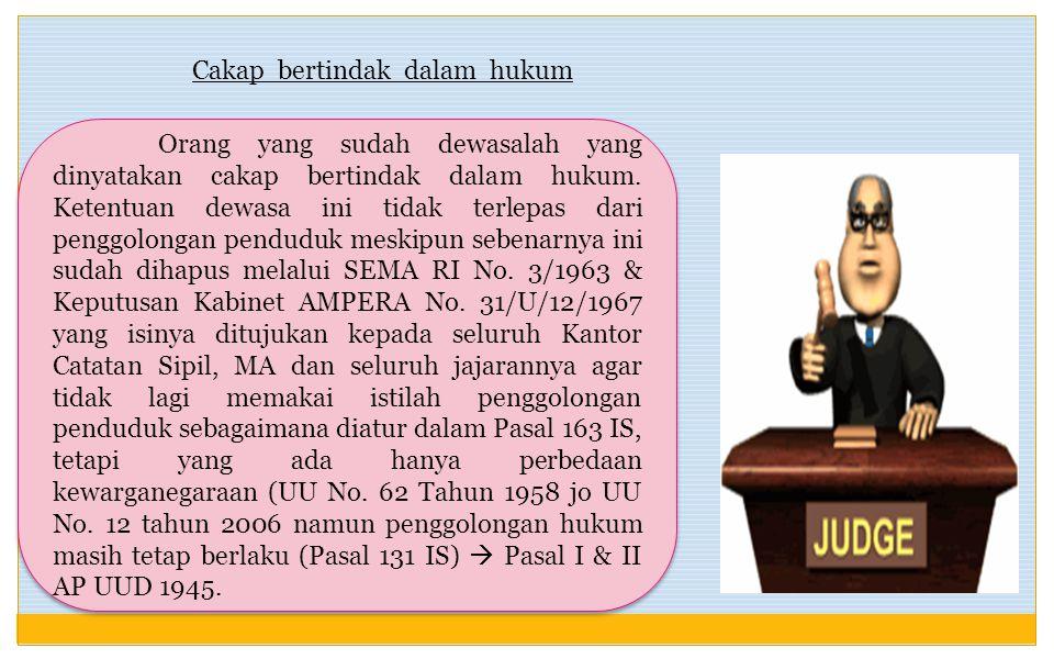 Cakap bertindak dalam hukum Orang yang sudah dewasalah yang dinyatakan cakap bertindak dalam hukum.