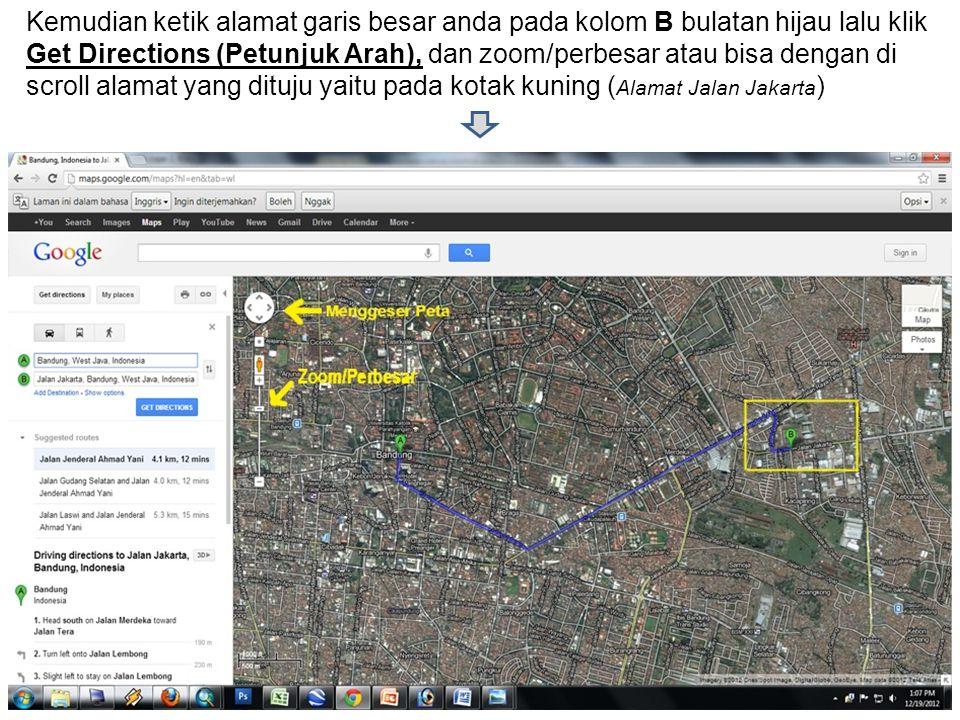 Setelah di zoom pada alamat anda ( Jalan Jakarta ) Kemudian mencari atap rumah anda dan klik kanan tepat pas atap rumah kemudian klik What's Here (ada apa di sini) ?