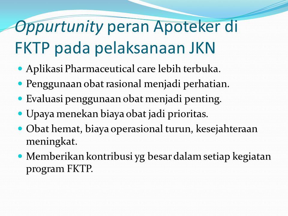Oppurtunity peran Apoteker di FKTP pada pelaksanaan JKN Aplikasi Pharmaceutical care lebih terbuka.