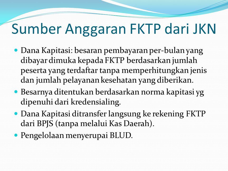 Sumber Anggaran FKTP dari JKN Dana Kapitasi: besaran pembayaran per-bulan yang dibayar dimuka kepada FKTP berdasarkan jumlah peserta yang terdaftar tanpa memperhitungkan jenis dan jumlah pelayanan kesehatan yang diberikan.
