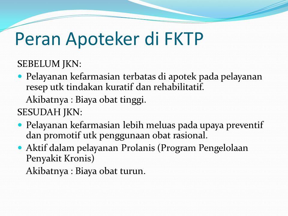 Peran Apoteker di FKTP SEBELUM JKN: Pelayanan kefarmasian terbatas di apotek pada pelayanan resep utk tindakan kuratif dan rehabilitatif.