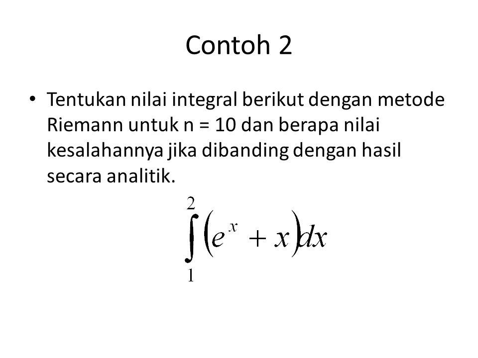 Contoh 2 Tentukan nilai integral berikut dengan metode Riemann untuk n = 10 dan berapa nilai kesalahannya jika dibanding dengan hasil secara analitik.