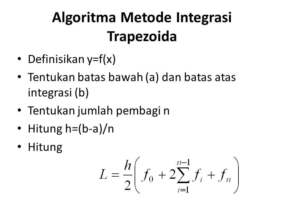 Algoritma Metode Integrasi Trapezoida Definisikan y=f(x) Tentukan batas bawah (a) dan batas atas integrasi (b) Tentukan jumlah pembagi n Hitung h=(b-a)/n Hitung