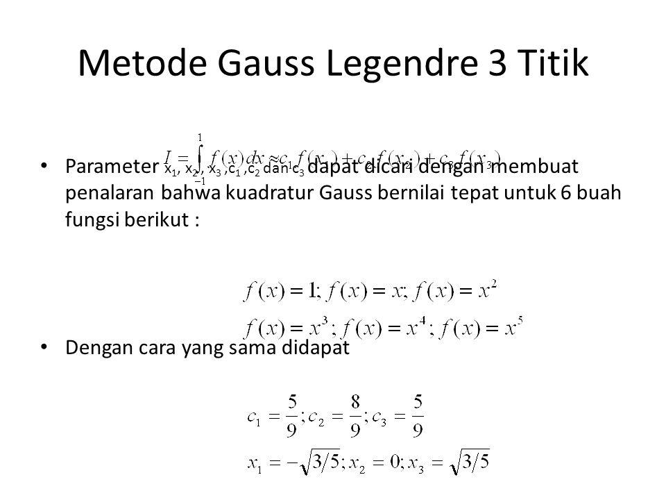 Metode Gauss Legendre 3 Titik Parameter x 1, x 2, x 3,c 1,c 2 dan c 3 dapat dicari dengan membuat penalaran bahwa kuadratur Gauss bernilai tepat untuk 6 buah fungsi berikut : Dengan cara yang sama didapat