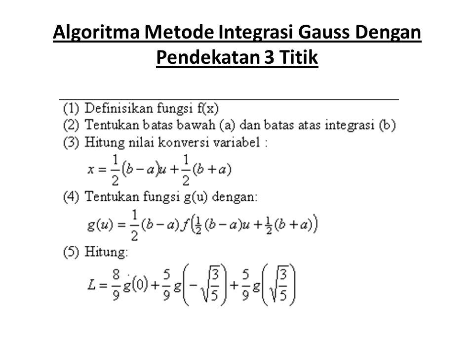 Algoritma Metode Integrasi Gauss Dengan Pendekatan 3 Titik