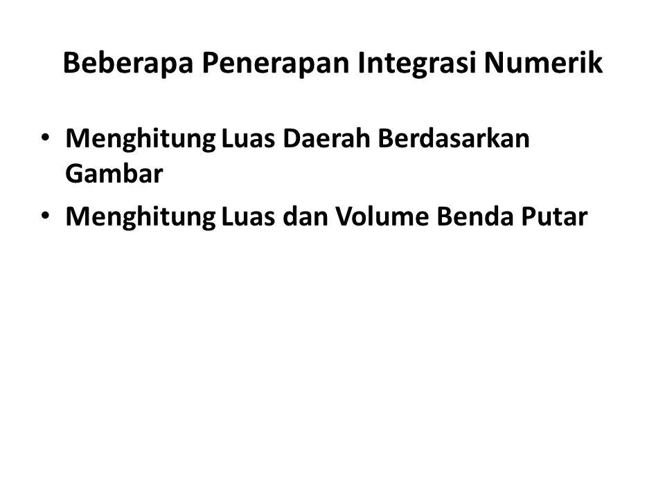 Beberapa Penerapan Integrasi Numerik Menghitung Luas Daerah Berdasarkan Gambar Menghitung Luas dan Volume Benda Putar