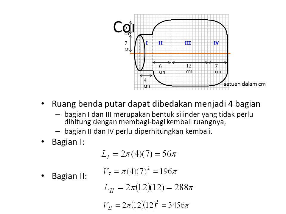 Contoh : Ruang benda putar dapat dibedakan menjadi 4 bagian – bagian I dan III merupakan bentuk silinder yang tidak perlu dihitung dengan membagi-bagi kembali ruangnya, – bagian II dan IV perlu diperhitungkan kembali.