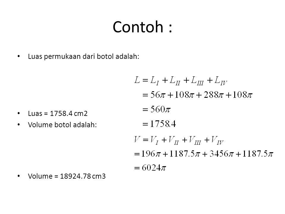 Contoh : Luas permukaan dari botol adalah: Luas = 1758.4 cm2 Volume botol adalah: Volume = 18924.78 cm3