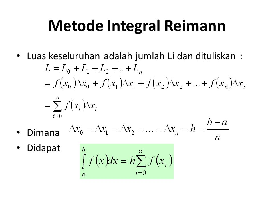Contoh Hitung luas yang dibatasi y = x 2 dan sumbu x untuk range x = [0,1] L =
