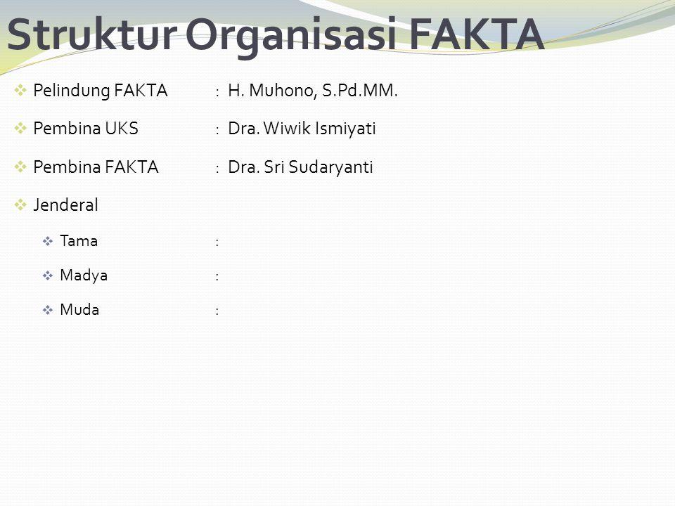 Struktur Organisasi FAKTA  Pelindung FAKTA: H. Muhono, S.Pd.MM.  Pembina UKS: Dra. Wiwik Ismiyati  Pembina FAKTA: Dra. Sri Sudaryanti  Jenderal 