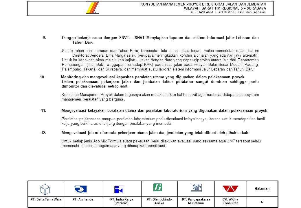 KONSULTAN MANAJEMEN PROYEK DIREKTORAT JALAN DAN JEMBATAN WILAYAH BARAT TIM REGIONAL 5 – SURABAYA PT.
