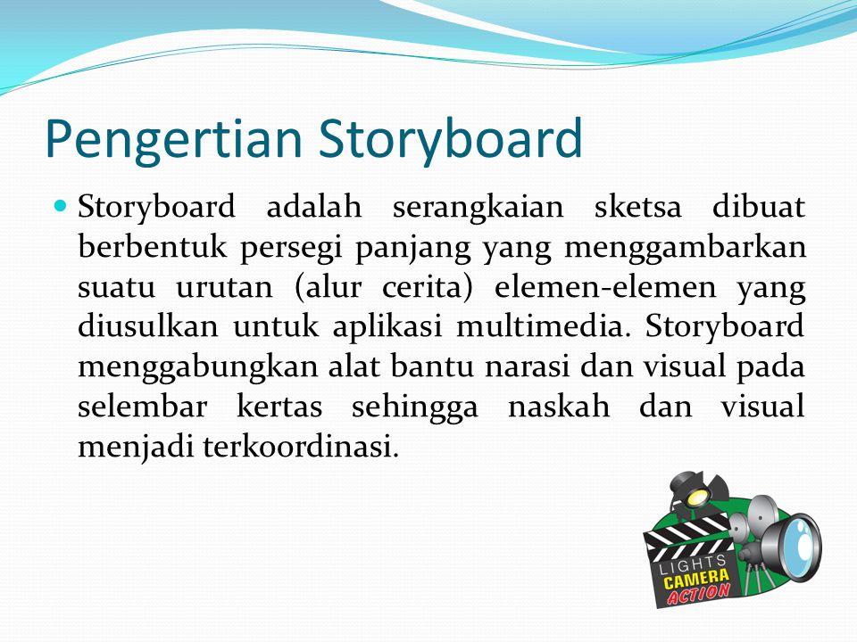 Pengertian Storyboard Storyboard adalah serangkaian sketsa dibuat berbentuk persegi panjang yang menggambarkan suatu urutan (alur cerita) elemen-eleme