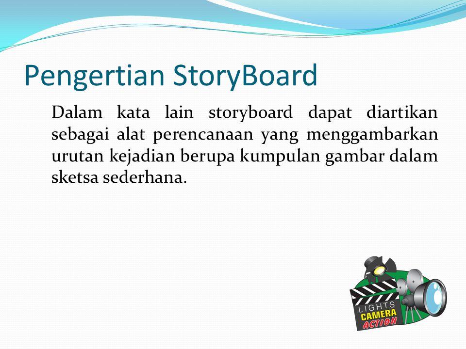 Pengertian StoryBoard Dalam kata lain storyboard dapat diartikan sebagai alat perencanaan yang menggambarkan urutan kejadian berupa kumpulan gambar da