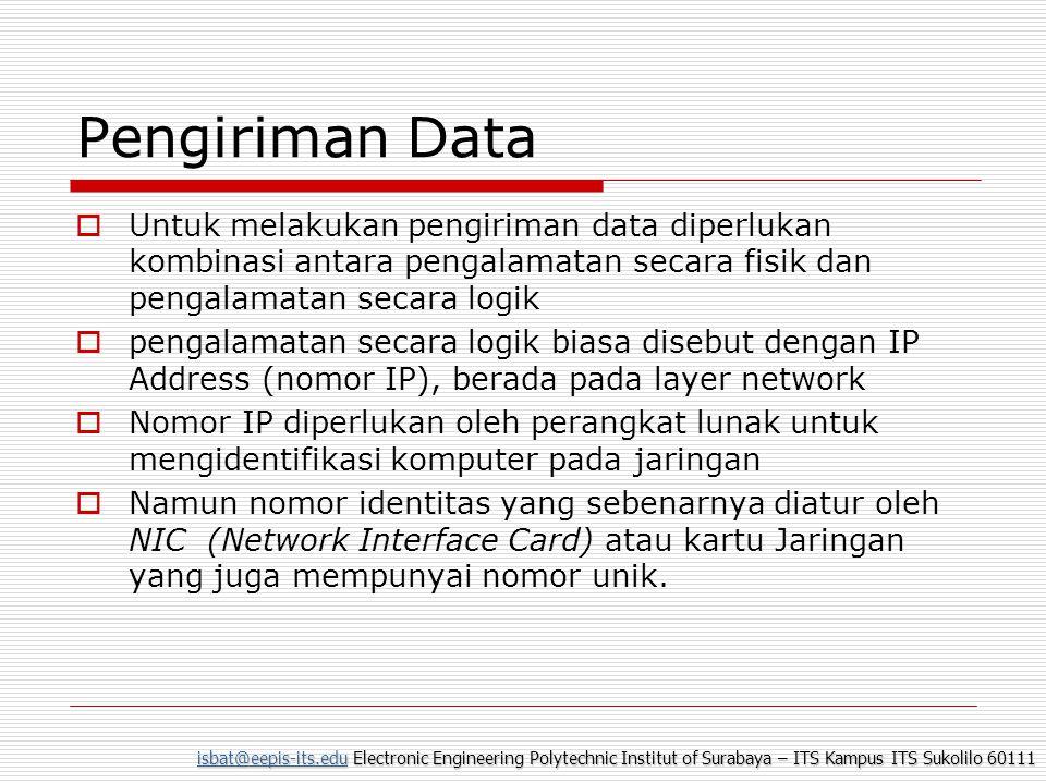 isbat@eepis-its.eduisbat@eepis-its.edu Electronic Engineering Polytechnic Institut of Surabaya – ITS Kampus ITS Sukolilo 60111 isbat@eepis-its.edu Pengiriman data pada DataLink Layer  Penentuan waktu pengiriman data yang tepat apabila suatu media sedang terpakai, hal ini perlu melakukan suatu deteksi sinyal pembawa.